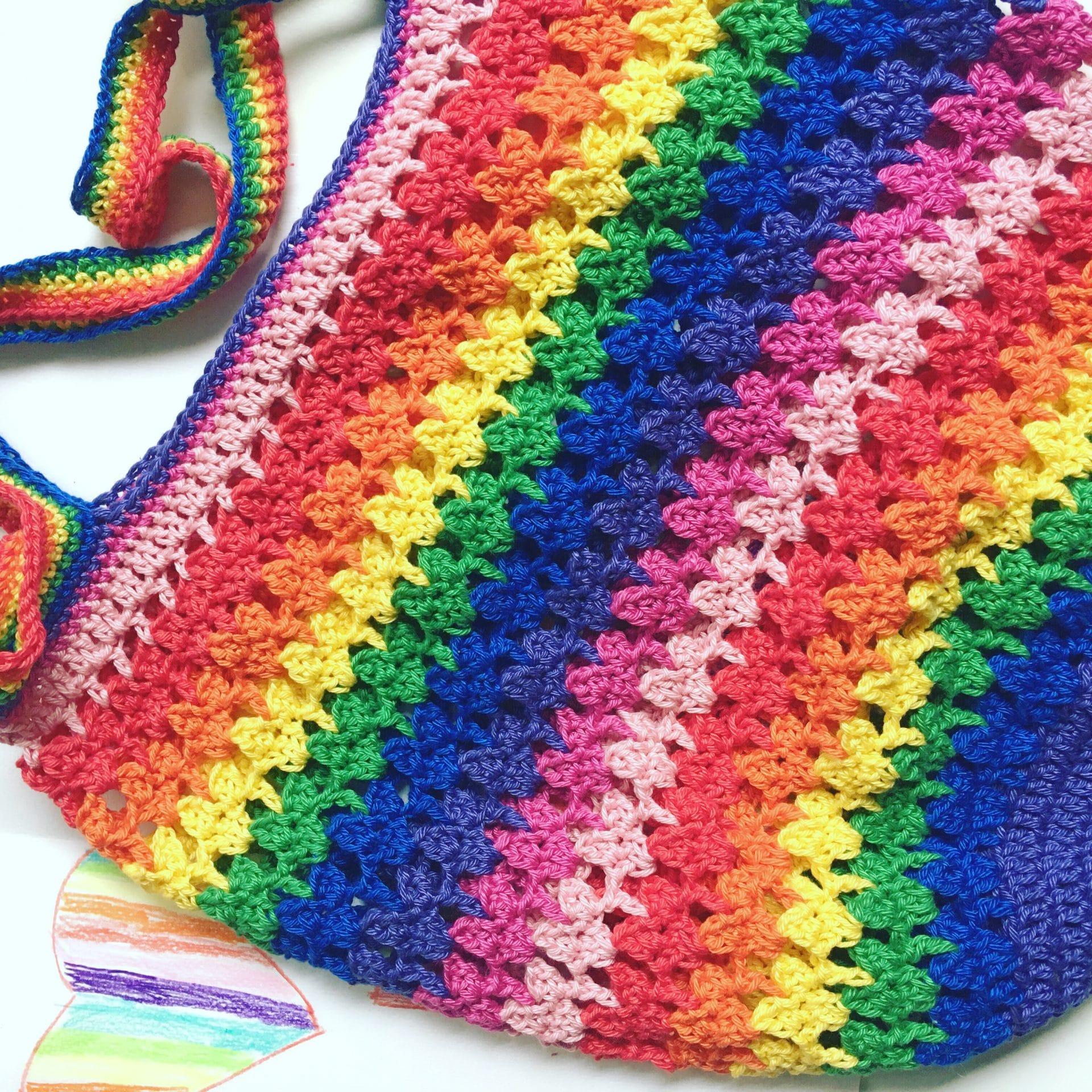 rainbow hearts market bag